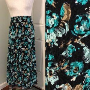 Lace Black blue floral maxi skirt